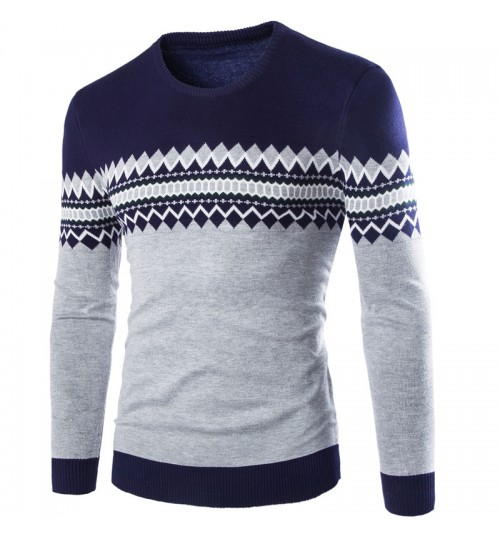 Autumn Winter new men's sweater round collar British thin sweater