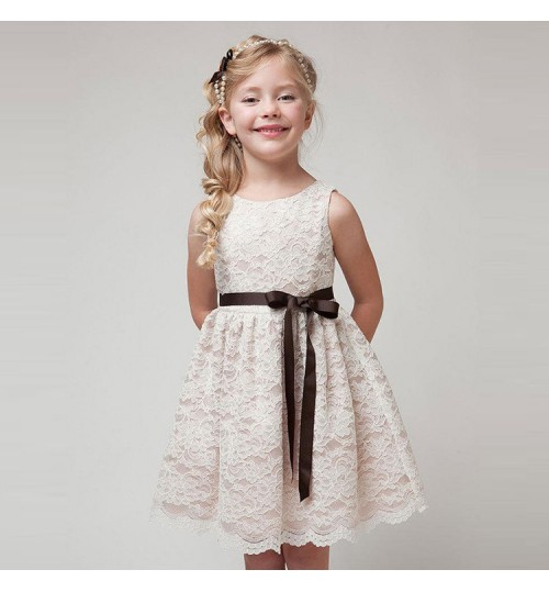 Children's clothing summer girls dresses bowknot lace princess dress
