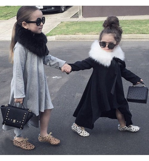 Autumn children's clothing solid color baby dress long-sleeved rotating skirt