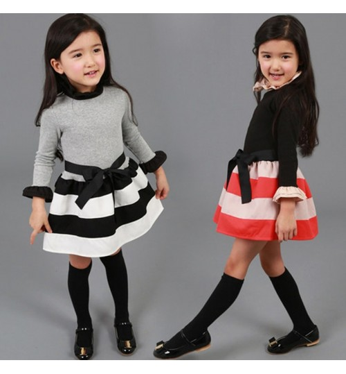 New children girl's clothing spring and autumn fashion striped princess long-sleeved short dress