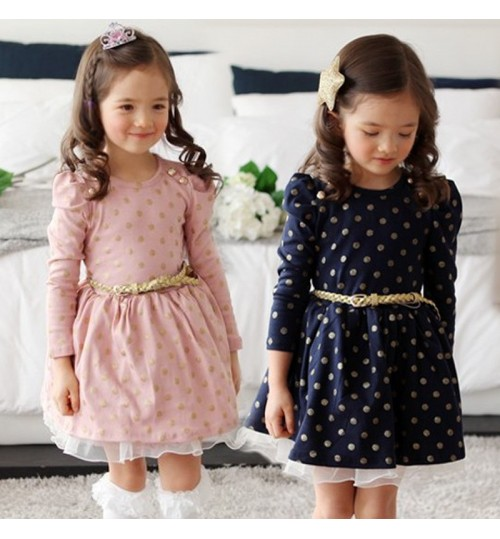 2018 Spring and Autumn Girls Dot Dress Belt Child Long Sleeve Korean Princess Child Skirt