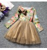 2018 spring and autumn girls princess dress Korean long-sleeved British wave point mesh skirt