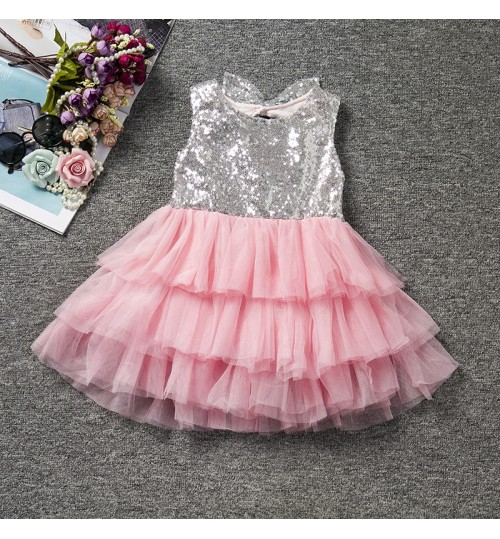 Europe and the United States fall girl bowknot sequin dress gauze princess fluffy cake skirt