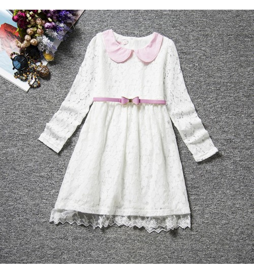 2018 spring children's clothing Korean style long-sleeved lace princess dress