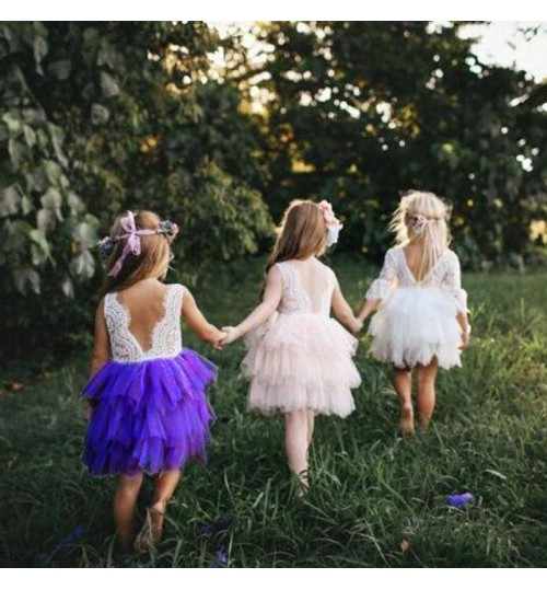 New children's skirts stacking wedding dress girls lace fluffy cake backless casual skirt