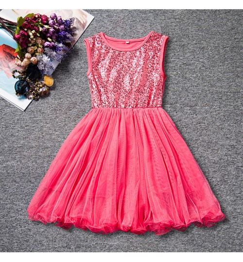 Europe and the United States high-grade autumn girl's sequin dress cute princess dress