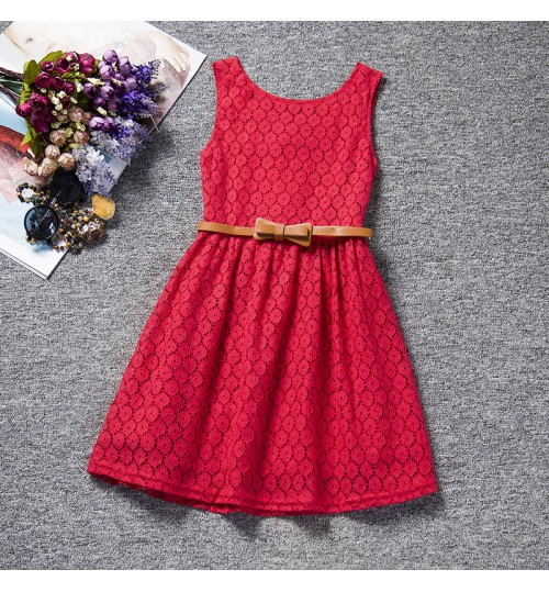 Europe and the United States hollow lace dress vest belt princess children's dress