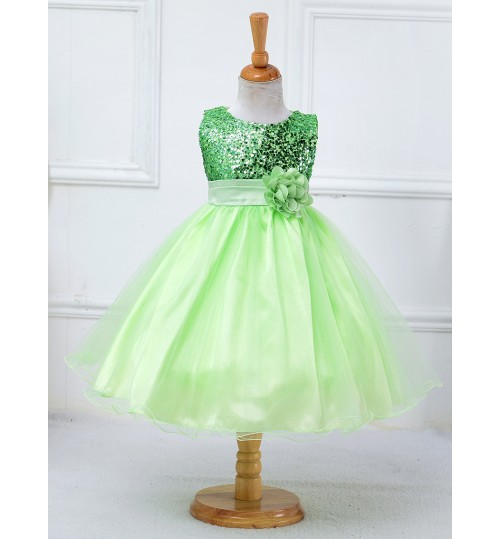 Korean girls princess dress children's costumes solid color belt flower long skirt