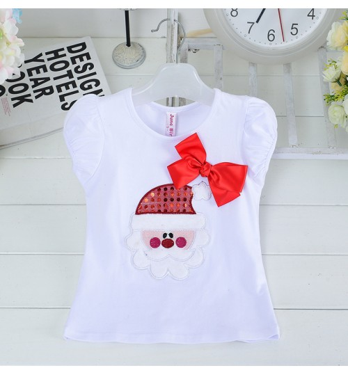 Autumn Christmas T-shirt short-sleeved girls T-shirt New Year's prints deer clothes