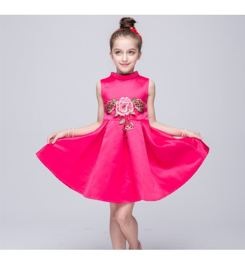 New girls embroidered princess dress children's tutu skirt cotton lining cloth