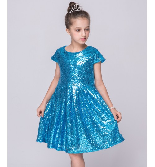 Summer children's clothing Europe and America short-sleeved sequins girl's princess dress