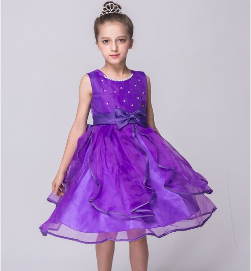 flower girl's princess dress children's hand-stitched beads wedding dress birthday party skirt