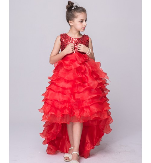 New children's skirt wholesale wedding dress girls sequins tiered skirts