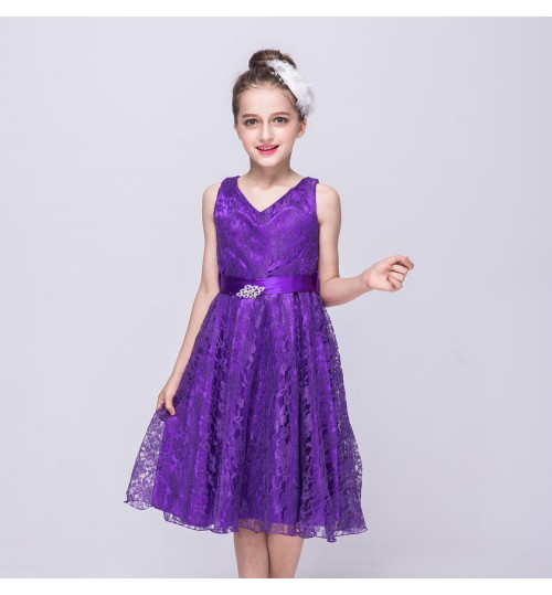 Hot selling children's skirt girls sleeveless lace princess dress