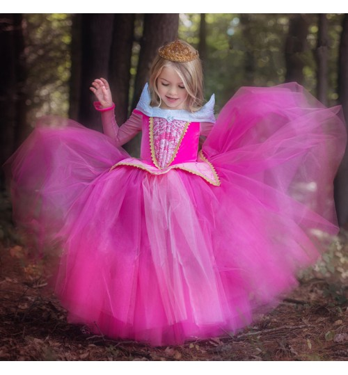 princess clothes long sleeves new sleeping beauty dress Christmas girls costumes children's skirt