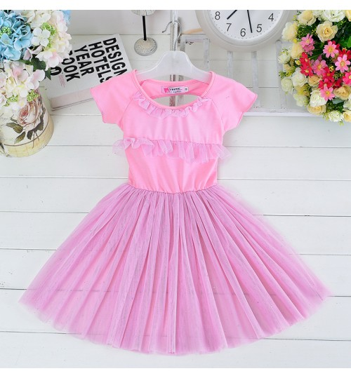 Korean style children's clothing skirts girls cotton mosaic mesh princess dress