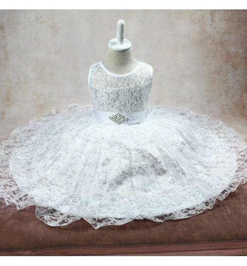Children's princess dress Children's pleated lace Red black white dress