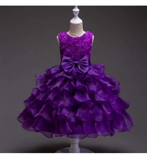 Children's wedding dress big children girls flower rose princess dress