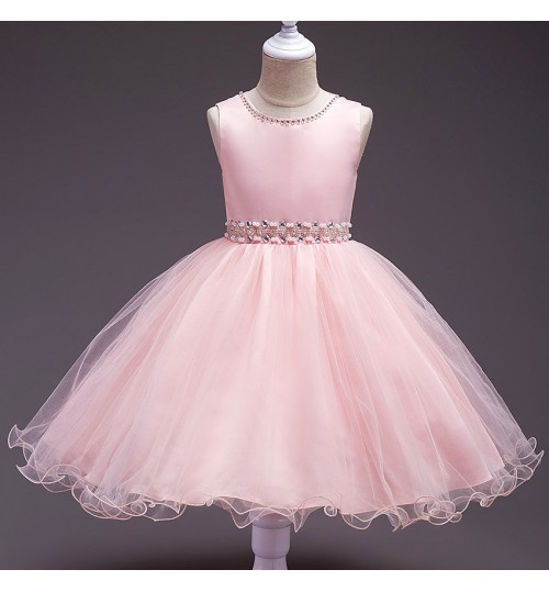 Girls Children's hand-stitched beads belt dress flower girl four-color wedding dress