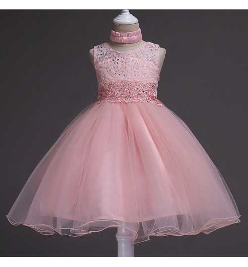 Children's Solid Color Wedding Dress Hot sale hotfix rhinestone Embroidery Princess Dresses