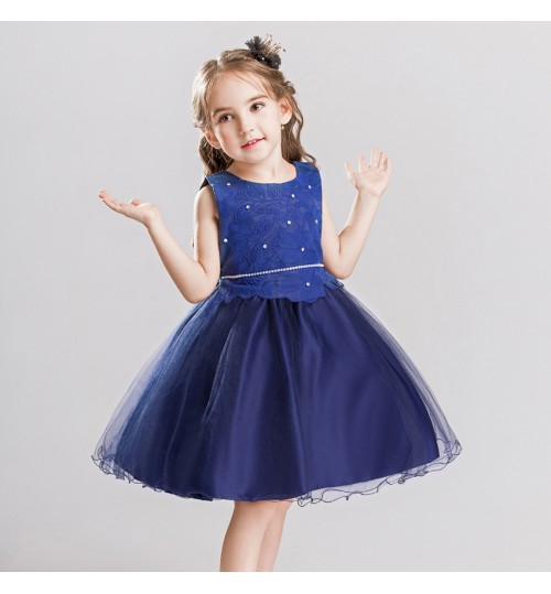 New children's clothing embroidered skirt sleeveless princess girls birthday red evening dress