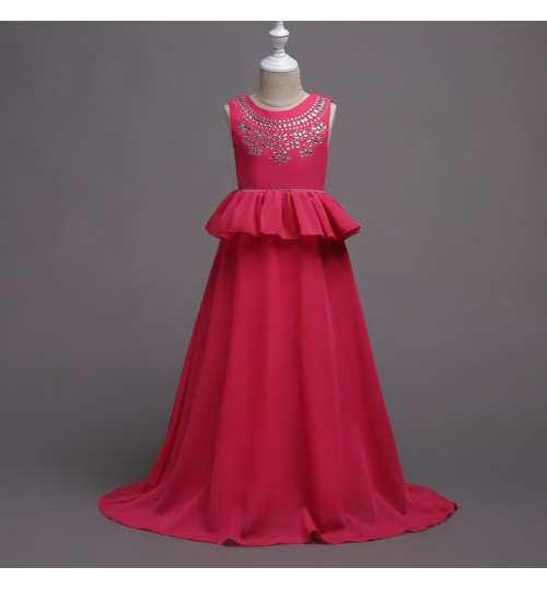Korean style children's wedding dress long Slim Princess girls chiffon hotfix rhinestone skirt