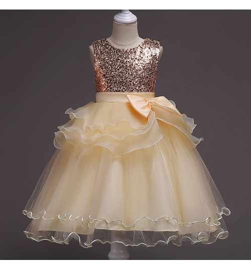 Girl's Lace Dress Children's champagne purple pink red rose blue Princess Dress