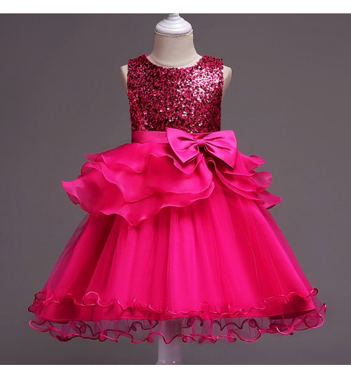 Children's clothing girls sequin blue rose red pink purple flower princess dress skirt