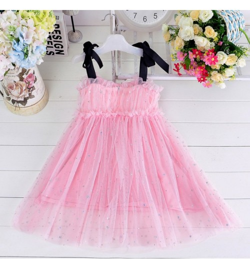 New summer children's wear strapped skirt bowkhot princess girls' star mesh dress