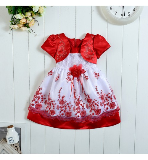 Korean style Girls Embroidered Dresses Baby Red purple pink Dresses