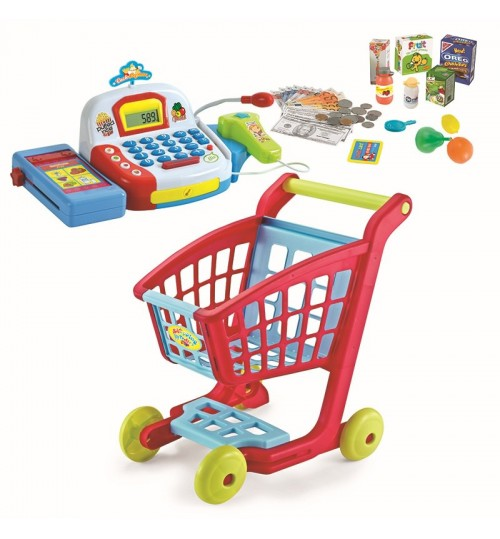 Children's supermarket shopping cart toy set Electric cashing machine sound with microphone