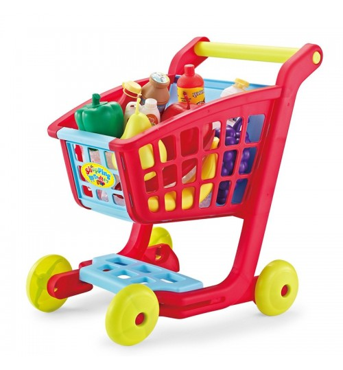 Children's Toys Early Learning Enlightenment supermarket shopping cart with variety of simulation foods