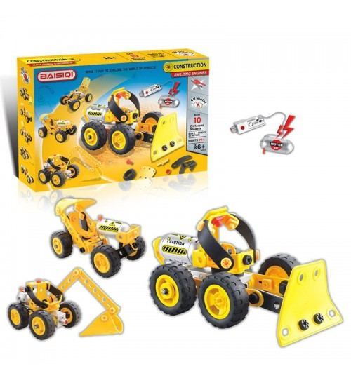 Children's Electric Motor Blocks Toy Set DIY Construction Machinery Toy 10 in 1