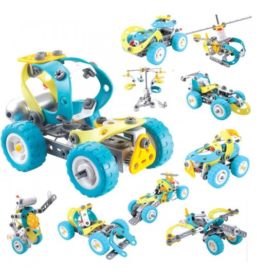 Children's Electric Motor Toys Assemble Set 10 in 1 Soft Plastic Creative Building Blocks