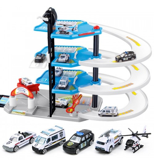 Children's four layers large police car parking alloy patrol wagon aircraft DIY assemble rail car