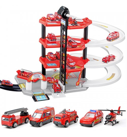 Children's Large Track Parking Toys 4 Layers DIY Fire Truck Alloy Railcar