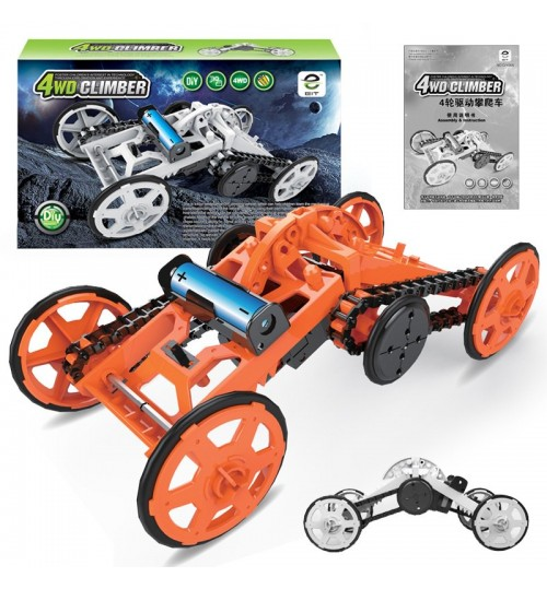 Science and education assemble blocks Electric off-road climbing car Four-wheeled space vehicles