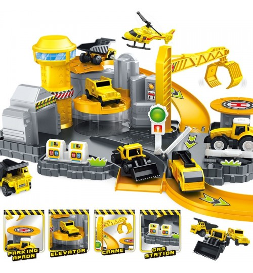 Children's Assemble Toys Ejection Construction Vehicle Parking Lot Track Stitching Toys Plastic DIY Building Model