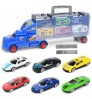 Alloy container truck toy set Portable storage 6 colourful cars track toy