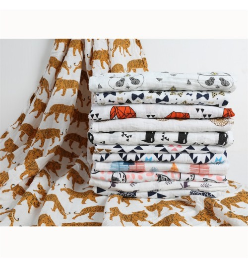 Cotton 2 layers gauze towel double baby bath towel muslin cotton newborn blanket