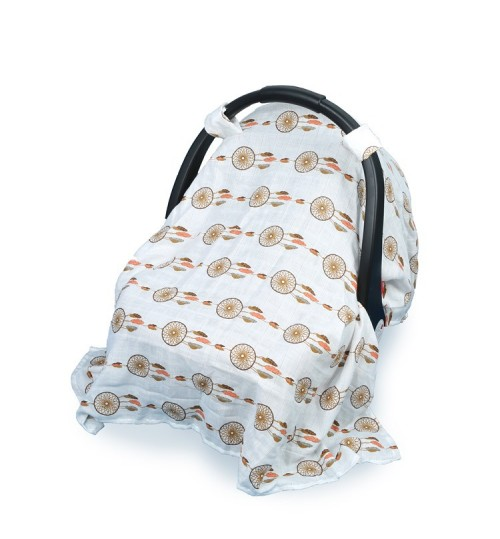 Baby safety seat sunshade cover cotton gauze breathable windproof sunscreen baby carriage cloth