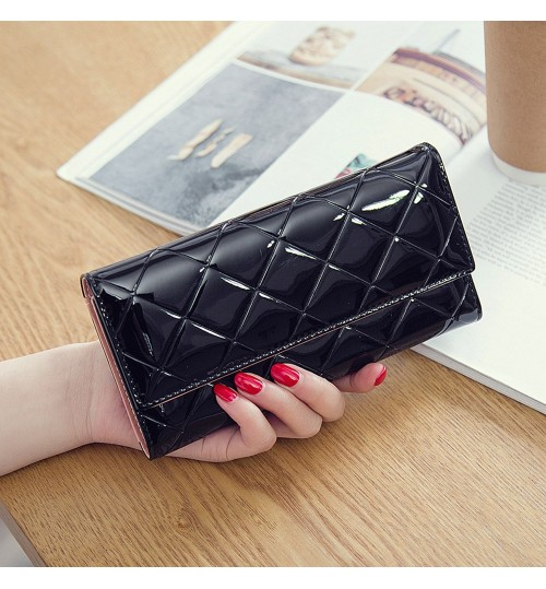 Japanese Korean style fashion wallet patent leather quality female wallet card case