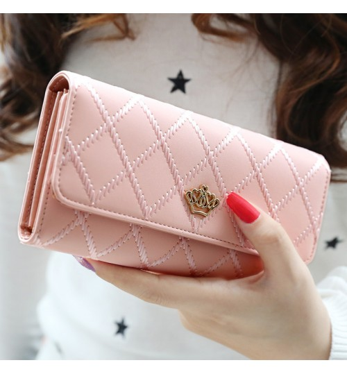 Women's Wallet Long Buckle diamond design 3 Fold Crown Bill Handbags Money Card case