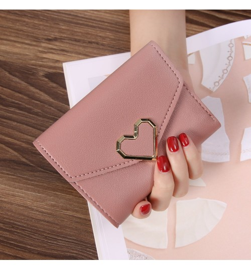 Japanese Korean style ladies three fold wallet peach heart design mini card buckle wallet purse