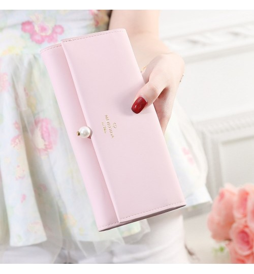 Clutch Bag Women's Wallet Simple Fashion Pearl Buckle Wallet High Quality
