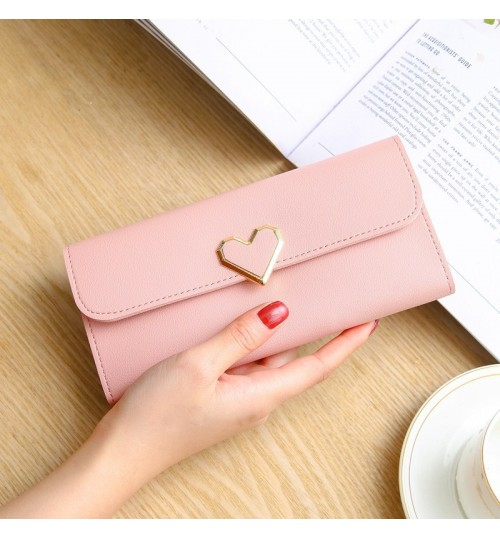 2018 New Heart shape Wallet lady Long Multi Card Buckle Mobile case