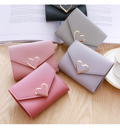 New retro small fresh metal heart shape short wallet lady student wallet