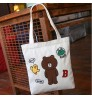 2018 New Brown Bear Tote Bag Cartoon Long Stamp Large-capacity Canvas Bag