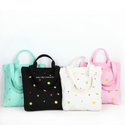 2018 new embroidery small pure and fresh canvas bag student reusable shopping bag