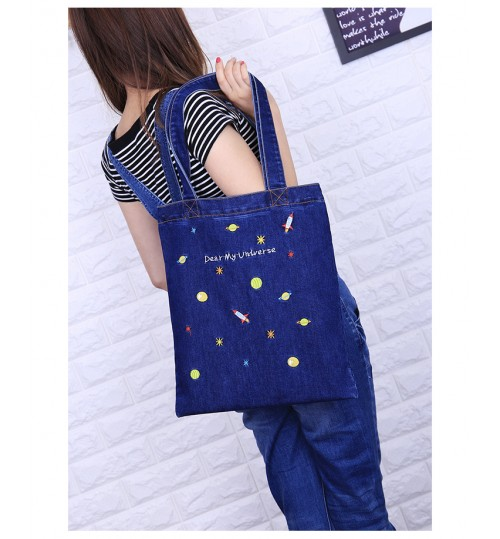 2018 New Denim Bag Vertical Style Casual Fashion Commuter Zipper Embroidered Tote Shoulder Bag